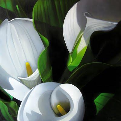 """Lilies 30x30"" original fine art by M Collier"