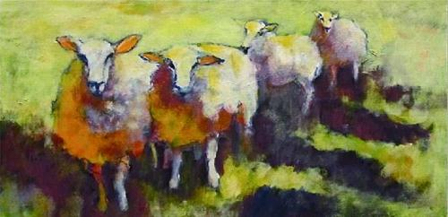 """Sheep Go Marching Two by Two"" original fine art by Patricia MacDonald"