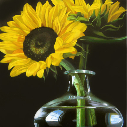 """Sunflowers No. 2 6x6"" original fine art by M Collier"