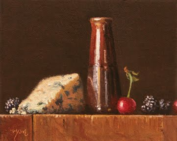"""Still Life with Blackberries, Cherries, and Bleu Cheese"" original fine art by Abbey Ryan"