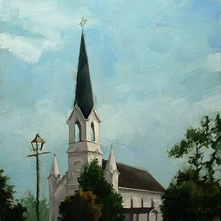 """Main Street Steeple"" original fine art by Michael Naples"