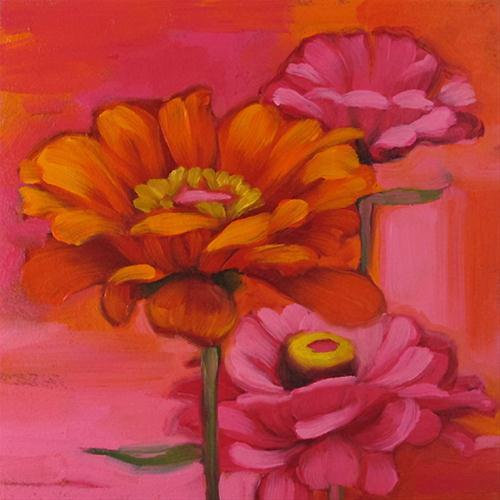 """The Zinnias I & II  flower pink orange"" original fine art by Diane Hoeptner"