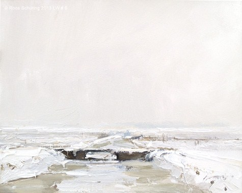 """Landscape winter 6 Composition in white (available)"" original fine art by Roos Schuring"