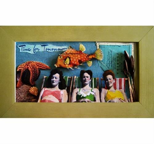 """Women at beach - altered art,assemblage,collage art"" original fine art by Linda Apple"