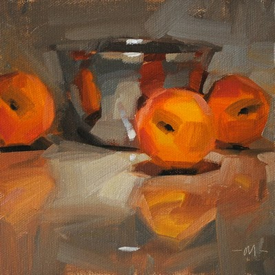 """Reflecting on Peaches"" original fine art by Carol Marine"