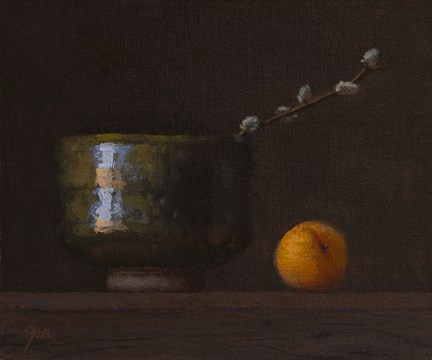"""Still Life with Korean Bowl, Pussy Willow, and Apricot   (+ Exhibition and Workshop News)"" original fine art by Abbey Ryan"