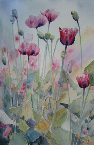 """Poppies in Pink"" original fine art by Yolanda Moreno"