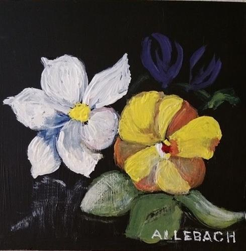 """3 Little Flowewrs"" original fine art by Jo Allebach"
