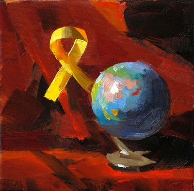 """Yellow Ribbon --- Sold"" original fine art by Qiang Huang"