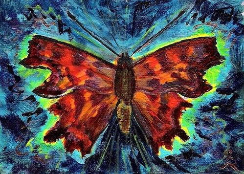 """3139 - Matted - COMMA BUTTERFLY ACEO"" original fine art by Sea Dean"
