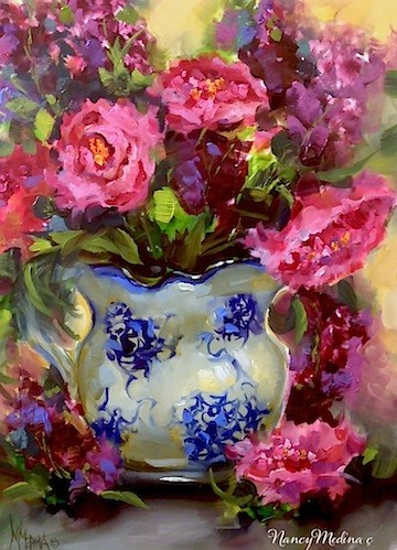 """Dreams to Come Pink Peonies and a Day in the Life by Floral Artist Nancy Medina"" original fine art by Nancy Medina"