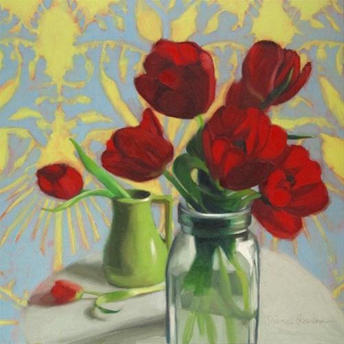 """Twilight Tulips red tulip painting by Hoeptner"" original fine art by Diane Hoeptner"