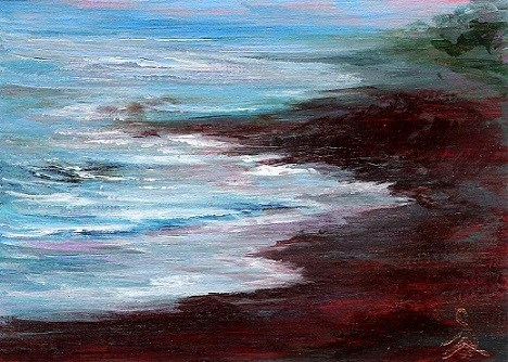 """3142 - ROCKY COAST - ACEO Series"" original fine art by Sea Dean"