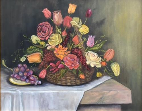 """Flowers in Basket"" original fine art by Barbara Whitmire"
