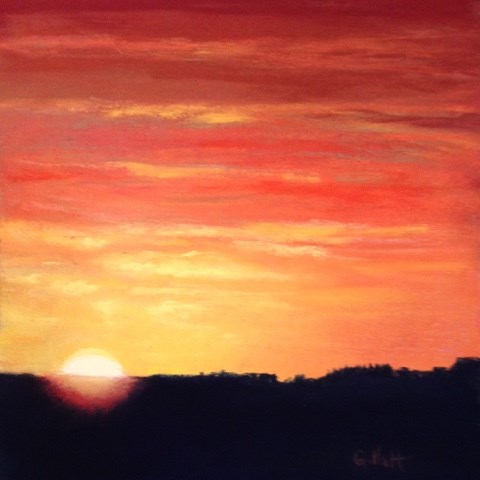 """Harvest Sunset"" original fine art by Cindy Gillett"