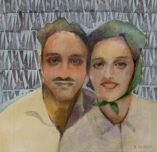 """Mixed Media: Uncle Al and Aunt Florence in 1940 (& a #book giveaway & a #speedpainting #art demo #vi"" original fine art by Belinda Del Pesco"