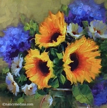 """Giveaway Day - Sunshine Trio WIth Hydrangeas - Flower Paintings by Nancy Medina"" original fine art by Nancy Medina"