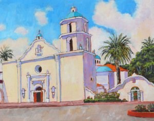 """Mission San Luis Rey"" original fine art by Robert Frankis"