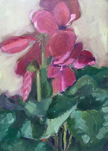 """Cyclamen"" original fine art by Merle Manwaring"