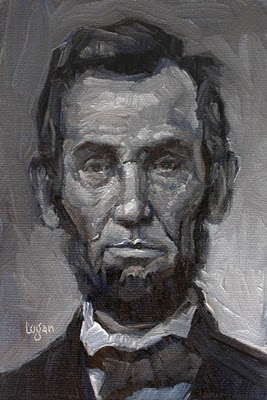 """Abraham Lincoln (twice)"" original fine art by Raymond Logan"