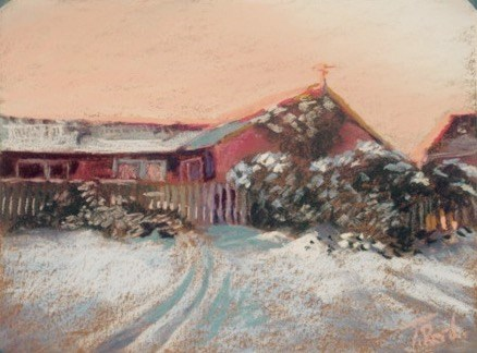 """Farm House at Sunset"" original fine art by Toby Reid"