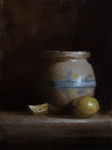 """""""Pot with Lemons"""" original fine art by Neil Carroll"""
