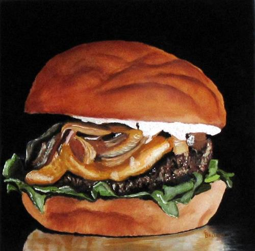 """""""Cheeseburger with Fried Onions!"""" original fine art by Sherry Bellamy"""