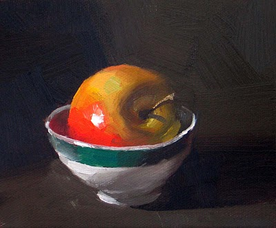 """A Bowl of Apple --- Sold"" original fine art by Qiang Huang"