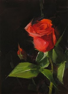 """Red Rose Study 4"" original fine art by Qiang Huang"