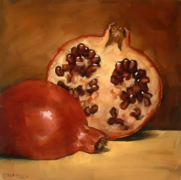 """Cut Pomegranate No.2"" original fine art by Michael Naples"