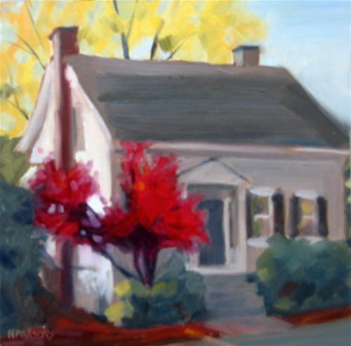 """House Fire on Centre Street"" original fine art by Nancy Parsons"