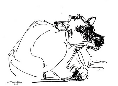 """Quickie 2__cow, sketch, pen"" original fine art by V.... Vaughan"