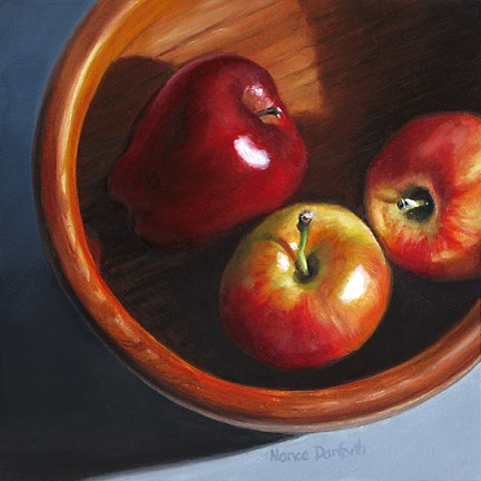 """Apples in Wooden Bowl"" original fine art by Nance Danforth"