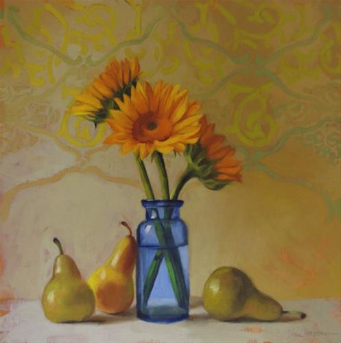 """Three and Three a sunflower floral still painting"" original fine art by Diane Hoeptner"