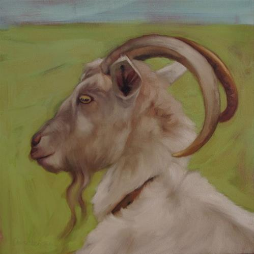 """Goat II another goat painting"" original fine art by Diane Hoeptner"