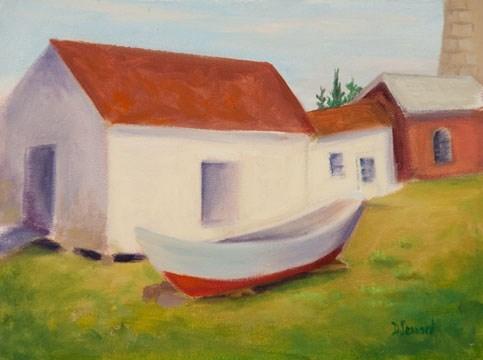"""Lighthouse Boat #1318"" original fine art by Dee Lessard"