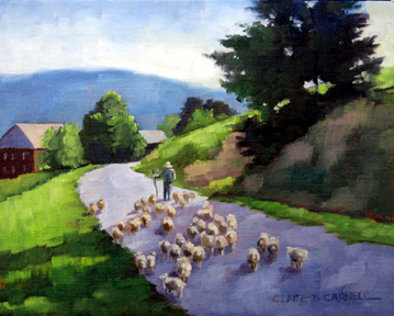 """Gathering Wool"" original fine art by Claire Beadon Carnell"
