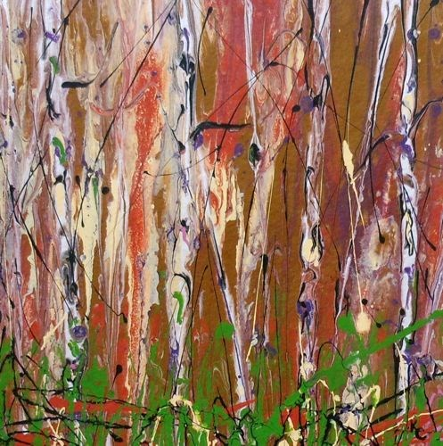 """Original Contemporary Aspen Tree Painting Enchanted Forest  by Colorado Contemporary Landscape Art"" original fine art by Kimberly Conrad"