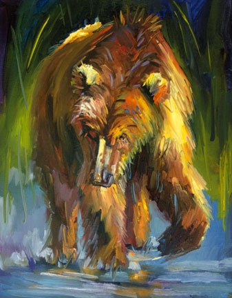 """CRAZY for Fish Bear Diane Whitehead Fine Art Oil Painting"" original fine art by Diane Whitehead"