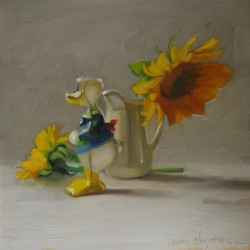 Oh Donald sunflower donald duck painting original fine art by Diane Hoeptner