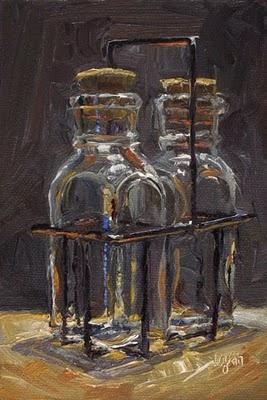 """Honey Bottles"" original fine art by Raymond Logan"