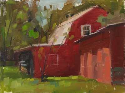 """Summer Barn"" original fine art by Carol Marine"