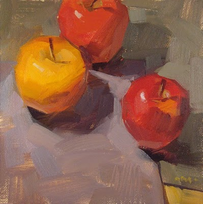 """Patchwork Apples"" original fine art by Carol Marine"