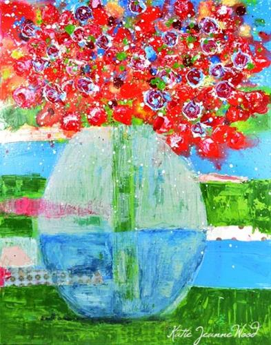 """""""Red and green mixed media floral painting on canvas No 175"""" original fine art by Katie Jeanne Wood"""
