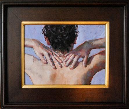 """Pat Yourself  9x12 oil on linen panel framed"" original fine art by David Larson Evans"