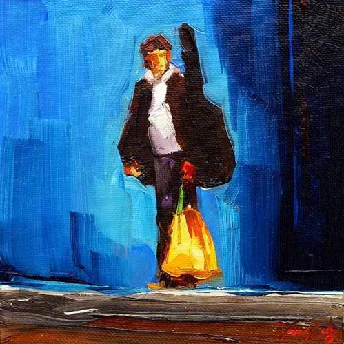 """""""Ein junger Gitarrenspieler"""" original fine art by Jurij Frey"""