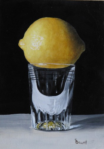 """Shot Glass With Lemon"" original fine art by Sherry Bellamy"