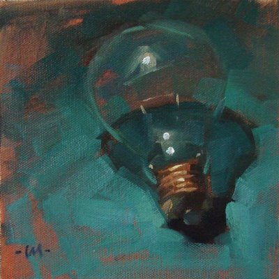 """Lone Lightbulb"" original fine art by Carol Marine"