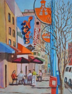 """Brunch on Rt. 66"" original fine art by Robert Frankis"