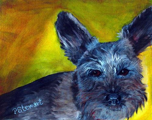 """""""Lucki, The Schnauzer with the unclipped ears."""" original fine art by Penny Lee StewArt"""